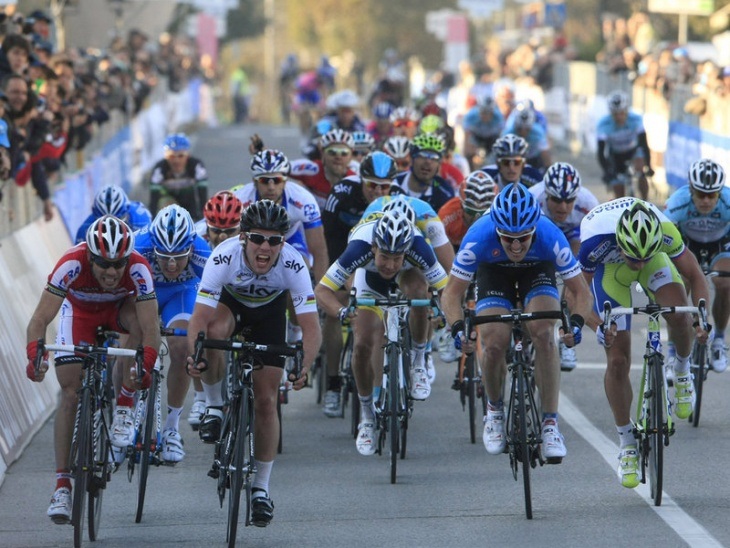 After a strong lead-out Cavendish kicked and held off his rivals at the finish.../ TEAM SKY
