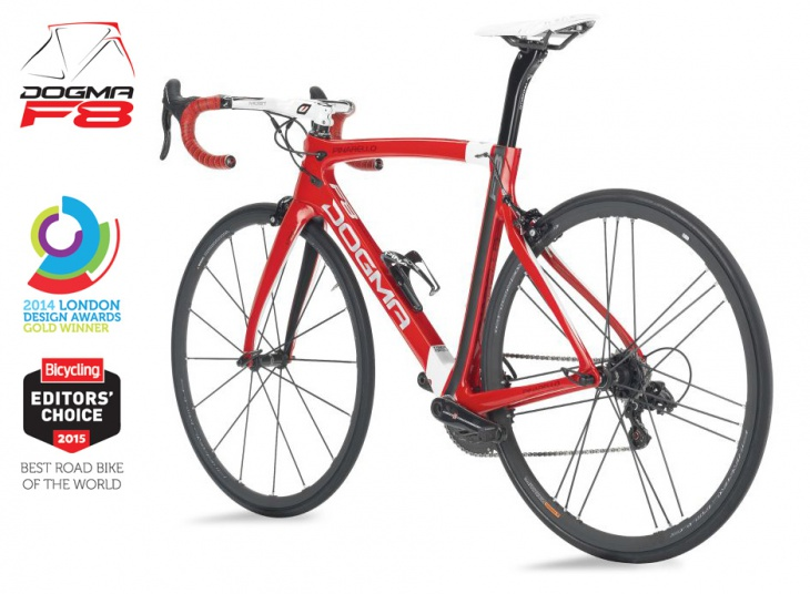 DOGMA F8は、2014 LONDON DESIGN AWARDS 金賞、Bicycling 2015 BEST ROAD BIKE OF THE WORLDに輝きました。