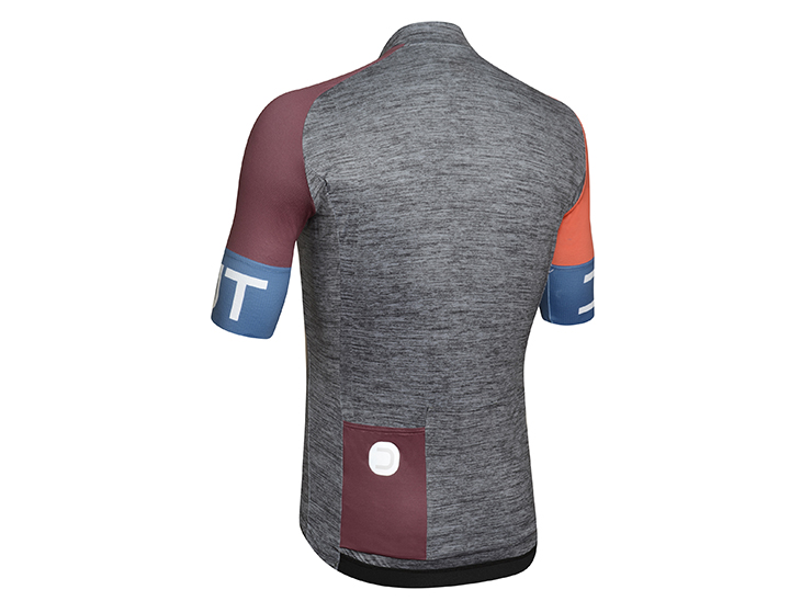 Spin Jerseymelange dark grey-bordeaux back