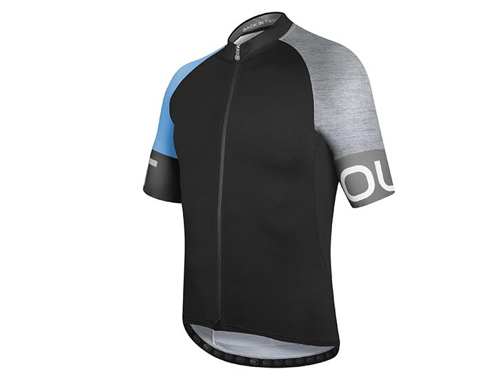 Spin Jersey black-deep light blue-melange light grey