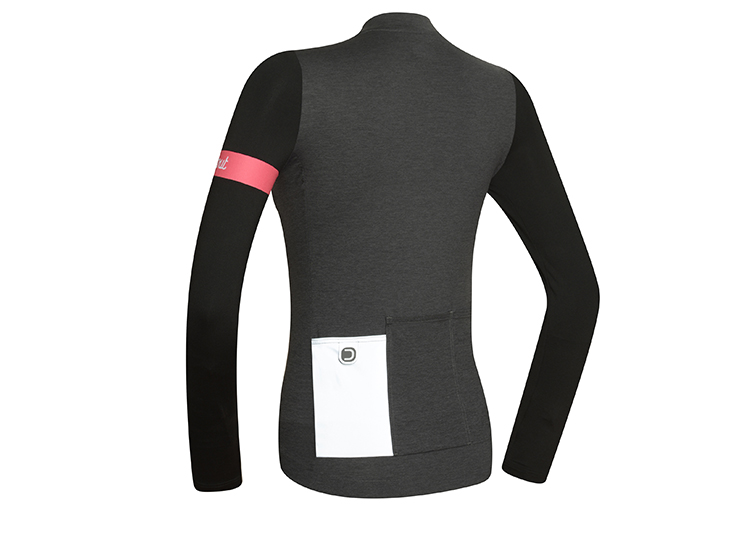 Block Long Sleeve W Jersey Melange Dark Grey Back